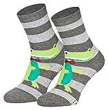 Piarini 2 paia di calzini con stopper ABS - Calzini antiscivolo con gommini antiscivolo in cotone - per ragazzi e ragazze 2 paia di coccodrillo. 35-38