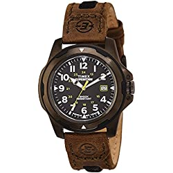 Timex Men's Expedition Rugged Field Metal Quartz Watch with Black Dial Analogue Display and Brown Leather Strap T49271