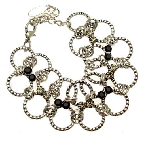 Acosta Jewellery Jet & Black Diamond Swarovski Kristall–Rund Links Silber Kostüm Armband