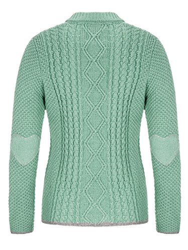 Almbock Strickjacke Reißverschluss Damen | Hochwertige Trachten Strickjacke | Trachtenjacke Damen aus Feiner Wolle in Vielen Farben von Gr. S - XXL (Mintgrün, S) - 2