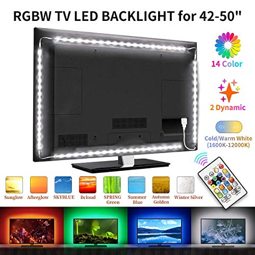 BASON LED TV Hinterhrundbeleuchtung, RGBW Led Strip, LED Streifen für 42-50 Zoll TV, 8.33ft/254cm Fernseher Led Beleuchtung Led Leiste mit Fernbedienung, USB Ambilight TV Synchronschalter mit TV.