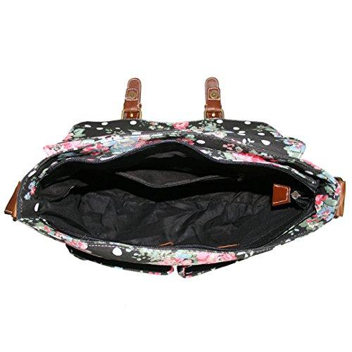 La Signorina Lulu Borsa Crossbody Bag Satchel Satchel Tote Stampato Con Tela Degli Uomini Delle Donne (l1157-fiori / Grigio) L1157 Fiori / Nero