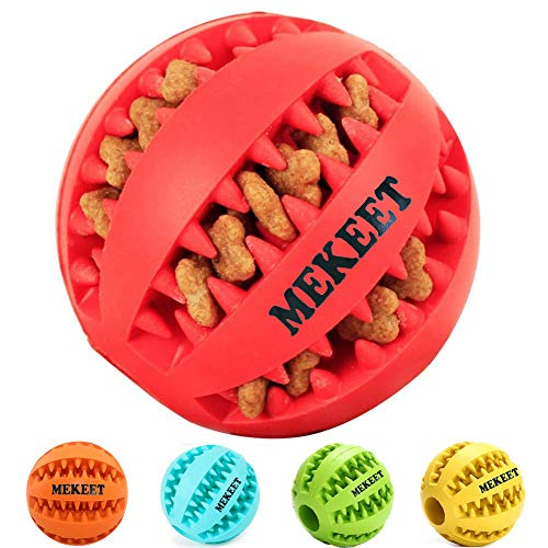 MEKEET Dog Rubber Ball Chew Toy,...