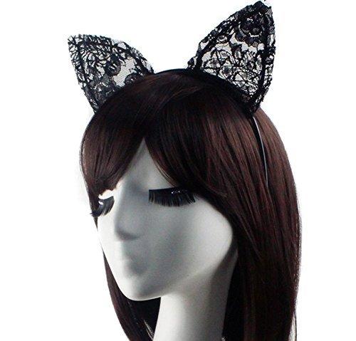 Süße Kostüm Party Stirnband–Sexy Schwarz Doppel Spitze Haarband Bunny Katze Ohren Haarband für Weihnachten Halloween (Dress Kostüme Bilder Fancy)