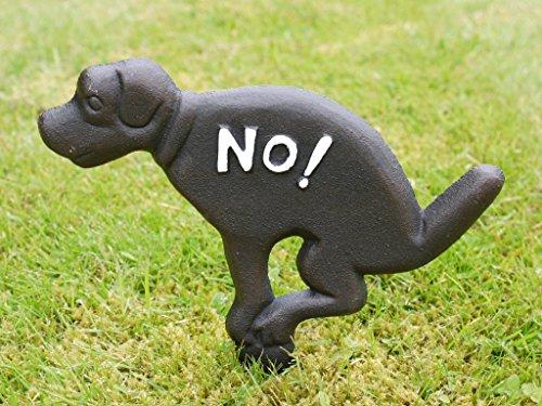 Gusseisen No Dog Fouling Funny Spike Zeichen. Perfekt für Rasenflächen, Grenzen und Pflanzgefäßen