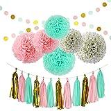 Set 20 Piezas de Papel de pañuelo de Pompones Papel Pom Poms Flores Garganta de Borla para Cumpleaños Decoraciones de Seda Boda (Verde Menta)