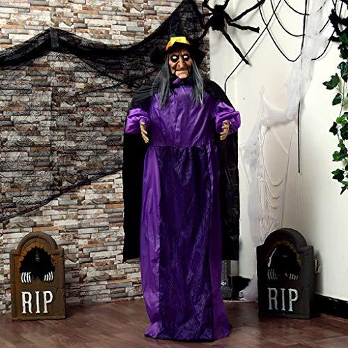 JIBO Horror Purple Witch Big Ghost Disposición De Escena De Halloween Control De Sonido Eléctrico Colgante Fantasma Accesorios De Decoración