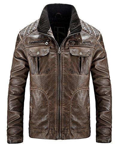 PLAER Hommes cuir Loisir cuir PU cuir Hommes Cuir veste Moto cuir Marron