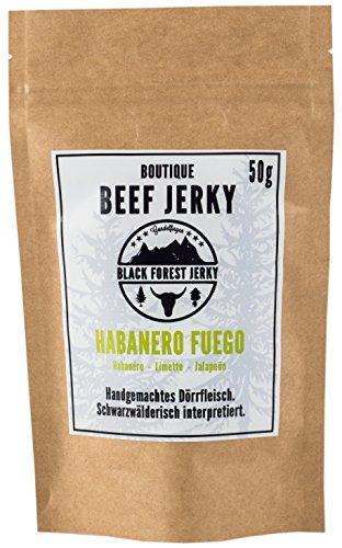 Black Forest Jerky – Habanero Fuego (5x50g), Handgemacht, Premium Beef Jerky, Deutsches Weiderind