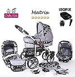 Chilly Kids Matrix II 4 en 1 Poussette Combinée (siège auto, base ISOFIX, habillage...