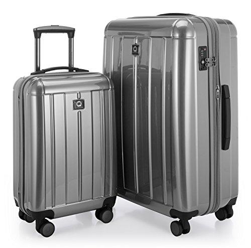 HAUPTSTADTKOFFER - Kotti - 2er Koffer-Set Trolley-Set Handgepäck + XL Koffer Rollkoffer Reisekoffer, TSA, (S & L), Silber glänzend