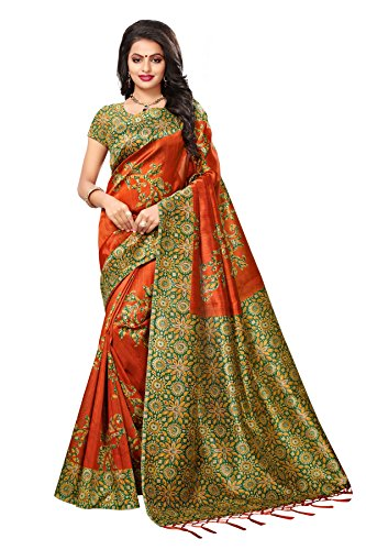 Applecreation women\'s art silk saree with blouse piece (SRJK048_Orange_Free Size)