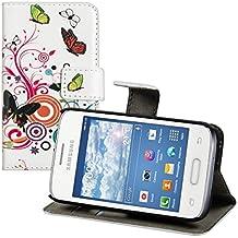 kwmobile Funda para Samsung Galaxy Young II - Wallet Case plegable de cuero sintético - Cover con tapa tarjetero y soporte Diseño mariposas hippies en multicolor rosa fucsia blanco