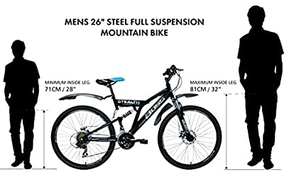 Boss Stealth Mens Dual suspension bike - Black, 26 Inch