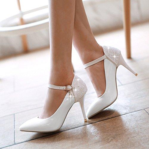 YE Damen Knöchelriemchen High Heels Spitze Lackleder Glitzer Stiletto Pumps  mit Pailletten und Schnalle Elegant Schuhe Weiß