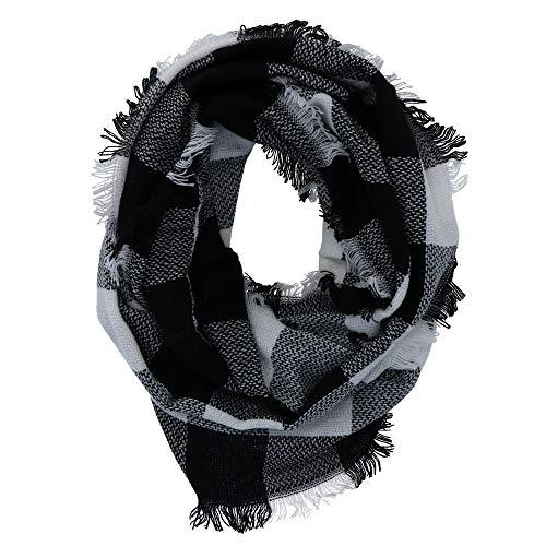 CTM Damen Schal Infinity White Buffalo Plaid Gr. Einheitsgröße, weiß - White Plaid Schal