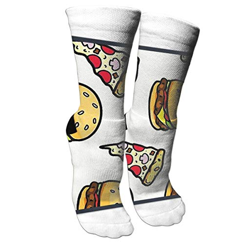 DGHKH Unisex Fun Socks - Colorful Funky Socks for Unisex - Pizza with Hamburgers Patterned Socks