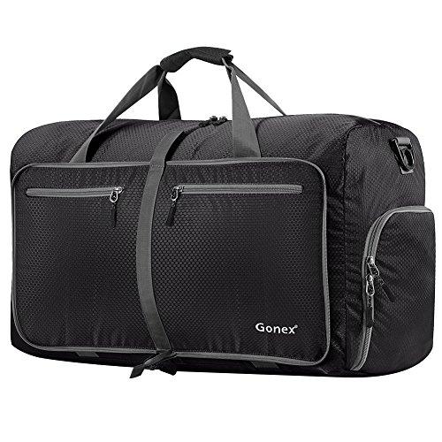 Gonex 80L Borsa da viaggio Borsa Pieghevole Impermeabile per Viaggio Sport Palestra Campeggio Bagaglio a Mano Tracolla con Grande Capacità di 80 Litri nero