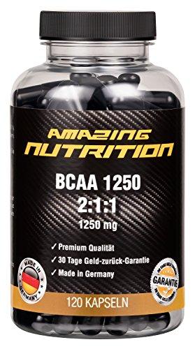BCAA 2:1:1 - 1250mg pro Kapsel - Hochdosierte Verzweigtkettige Aminosäuren - ideal für Gewichtsreduzierung und das erholen deiner Muskeln vom Training - 1 Monatspackung (120 Kapseln)