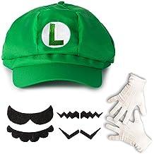 Katara - Super Mario Bros Disfraz de Luigi para niños y adultos - juego de 1 gorra, 1 par de guantes y 6 bigotes
