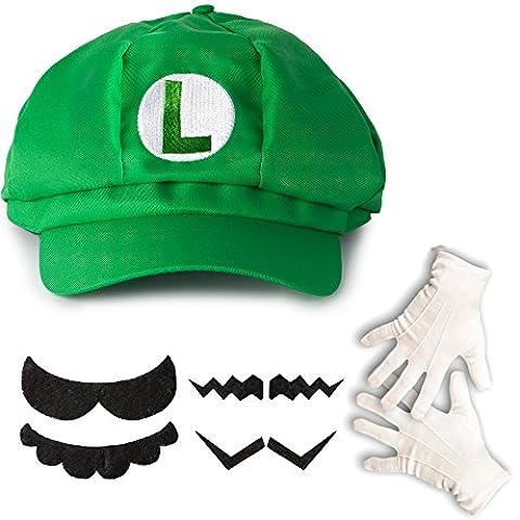 Super Mario Luigi Kostüm-Set Mütze, Handschuhe, Bart für Erwachsene oder Kinder