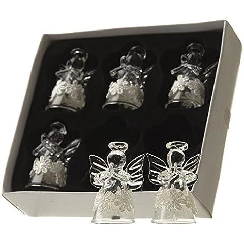 Decorazioni per albero di Natale, scatola con 6 angioletti in vetro, con fascia floreale bianca, 4,5 cm