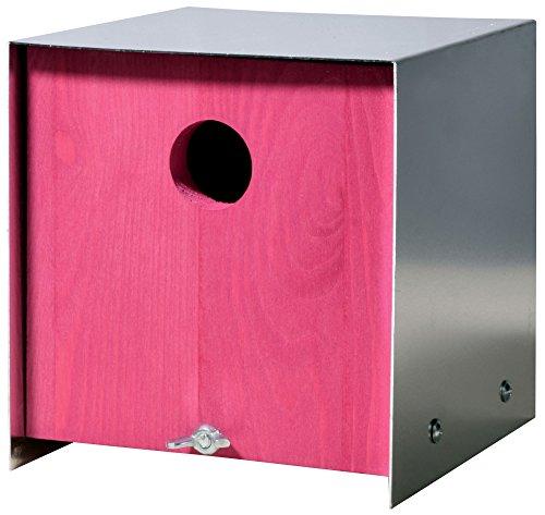 Luxus-Vogelhaus 37422e Designer Nistkasten für Vögel, aus Holz (Kiefer, Massivholz), für Garten, Balkon, Aluminiumverkleidung, Farbe: Rosa/Pink - Nisthilfe Vogelhaus
