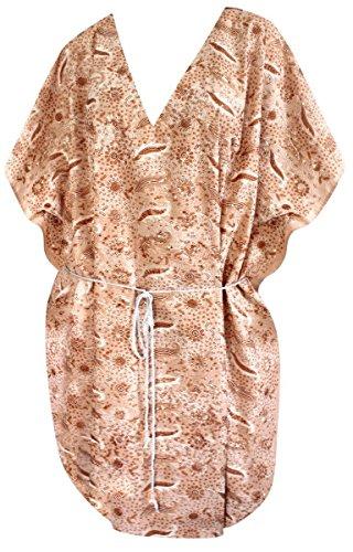 La Leela rayonne broderie caftan sundress haut maillot de bain cadeau camouflage poncho femmes boho dames maillots de bain fête décontractée sundress bohème tunique spacieuse top Marron