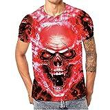 Herren Kurzarm t-Shirt,Große Förderung Männer Basic Löchern Shirt Rundhals Tee Skull 3D Digital Drucken Rundhalsausschnitt Oberteile,Sweatshirt Herren Slim Fit Rot(M)