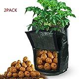 Bupin Potato Grow bag, ortaggi, borsa da giardino, tessuto poroso piantare resistente borsa con manici e patta di accesso per carota/pomodoro/cipolla 33*50cm