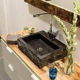 wohnfreuden Naturstein Marmor Waschbecken ANDESIT 48x38x12 cm ✓ schwarz rechteckig außen gehämmert innen poliert ✓ Handwaschbecken Steinwaschschale Naturstein-Aufsatzwaschbecken für Bad Gäste WC