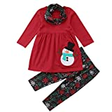 Riou Weihnachten Baby Kleidung Set Kinder Pullover Pyjamas Outfits Set Familie Kinder Mädchen Schneemann Prinzessin Party Mini Kleider Hosen Kleidung Outfits (80, Rot)