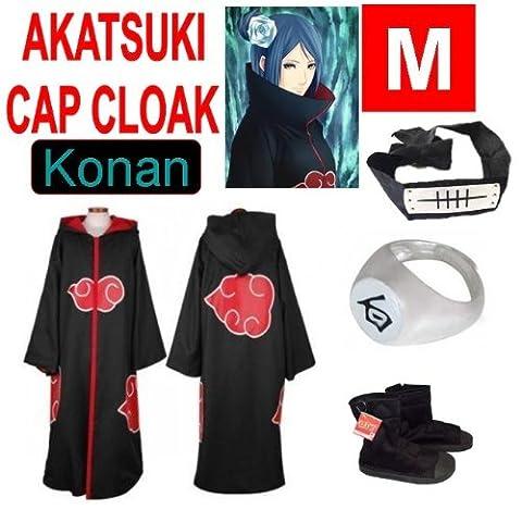 Günstige Naruto Cosplay Set für Konan - Akatsuki mantel (M) + Akatsuki Konan Kaku Ring(weiß) + Konan Kopfband (schwarz) + Naruto Akatsuki (Konan Cosplay Set)