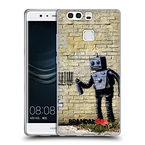 Head case designs ufficiale brandalised robot banksy arte tag di strada cover morbida in gel per huawei p9 plus