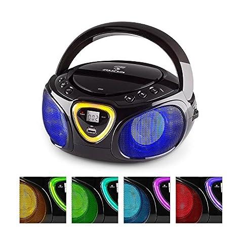auna Roadie Boombox Bluetooth, Lecteur CD portable stéréo (USB, MP3, WMA, radio AM/FM, effets de lumière LED, compatible CD-R/RW, sortie casque) - noir