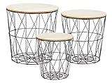 Metall Beistelltisch mit Stauraum schwarz - 3er Set - Wohnzimmer Tisch mit Abnehmbarer Holz Platte Metallkorb Sofatisch Couchtisch