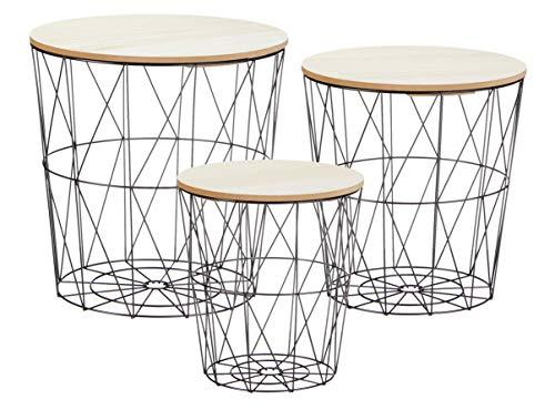Metall Beistelltisch mit Stauraum schwarz - 3er Set - Wohnzimmer Tisch mit Abnehmbarer Holz Platte Metallkorb Sofatisch Couchtisch -
