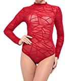 CoCo Fashion Damen Jumpsuit Bodycon Bodysuit Langarm Unterwäsche Stehkragen Outfit Bandage Netzeinsatz Netz Top Overalls (EU L, Rot)