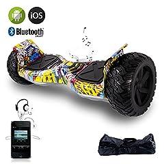 Idea Regalo - EVERCROSS Hoverboard Challenger Basic Monopattino Elettrico Autobilanciato, Balance Scooter Skateboard, con Due ruote 8.5 in, Bluetooth, APP e LED,Inclusa Batteria e Borsa,15Km/H (Hip-Hop)