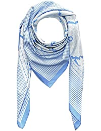 Lorenzo Cana Italian Scarf Pashmina Silk Cotton Shawl 43'' x 43'' Paisley Houndstooth Light Blue White 8911811