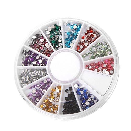 800pcs 2mm Paillettes Strass en Acrylique Multicolore Accessoires pour Nail Art