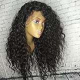 Frauen Echthaar Hair Lace Wig Peruanisches Echthaar klebefreien Full Lace 130% Dichte mit Baby Haar Gelockt Perücke schwarz lang für schwarz Frauen Natur