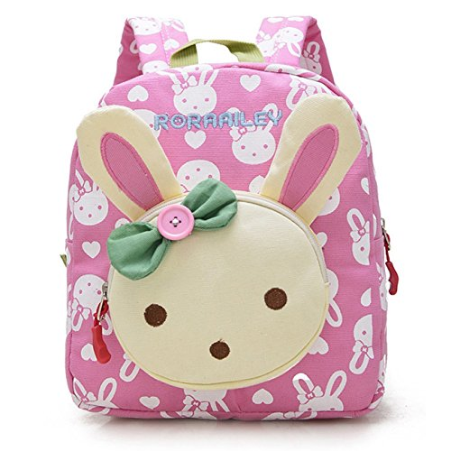 GWELL 3D Bunny Babyrucksack Kindergartenrucksack Kindergartentasche Backpack Schultasche Kinder Mädchen rosa (12 X 12 Canvas)
