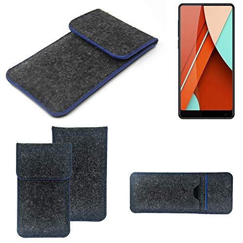K-S-Trade® Filz Schutz Hülle Für Bluboo D5 Pro Schutzhülle Filztasche Pouch Tasche Case Sleeve Handyhülle Filzhülle Dunkelgrau, Blauer Rand Rand