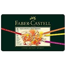 Faber-Castell 110060 - Estuche de metal con 60 lápices de colores polychromos, multicolor