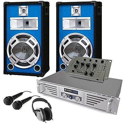 DJ Komplett-Set Durch-Starter Verstärker Boxen Mixer Mic Kopfhörer