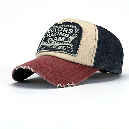 Baumwolle Golf-mantel (Swallowuk Vintage Unisex Baseballmütze Baumwolle Motorrad Cap Kantenschleifen Do Old Hat (Rotwein))