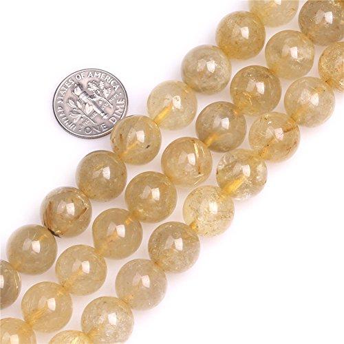 Shgbeads naturale 11-- 12mm rotondo giallo quarzo rutilato pietra preziosa sciolto perline per creare gioielli 38,1cm, 11--12mm yellow, 11--12mm