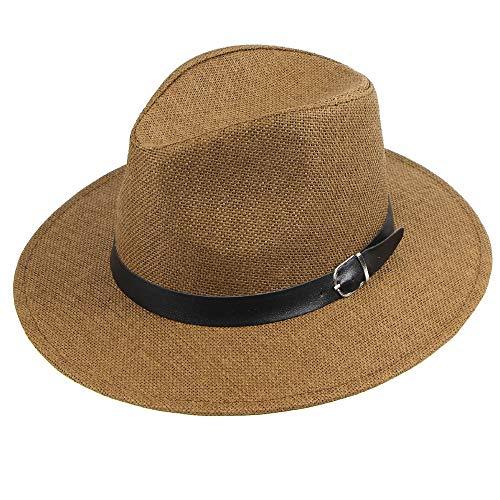 und Sommer Mann Papier Straw Plaid Curled Top Damen und Herren |Sonnenhut | Hut aus Stroh für den Sommer am Strand oder im Urlaub | Verschiedene Größen | Farbe Natur ()