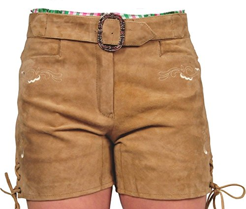 Lederhose mit Gürtel-Echt Leder Wildbock Trachten Lederhose kurz, Damen Trachtenlederhose mit Gürtel in Beige (36, Beige)